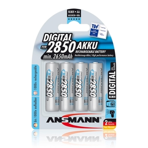 Image of Ansmann AA Size - 4 x 2850mAh - Digital NiMH Rechargeable Batteries