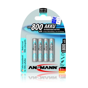 Image of Ansmann AAA Size - 4 x 800 mAh - Max e NiMH Rechargeable Batteries