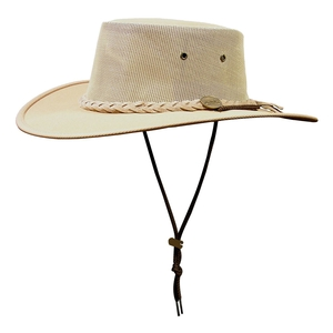 Image of Barmah Drover Canvas Hat With Mesh Sides - Beige