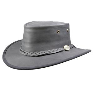 Image of Barmah Foldaway Bronco - Fullgrain Leather Hat - Black