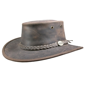 Image of Barmah Foldaway Bronco - Fullgrain Leather Hat - Dark Brown