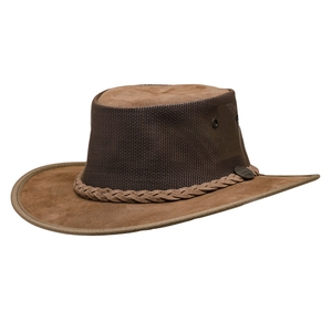 Image of Barmah Foldaway Cooler - Suede Leather Hat With Mesh Sides - Hickory