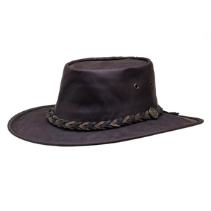 Image of Barmah Squashy Roo - Kangaroo Hide Hat - Dark Brown Crackle