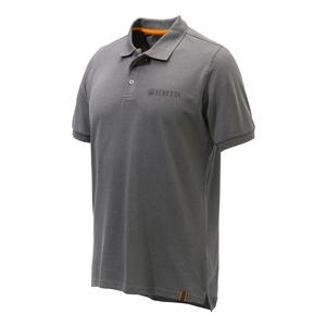 Image of Beretta Corporate Striped Polo Shirt - Grey Melange