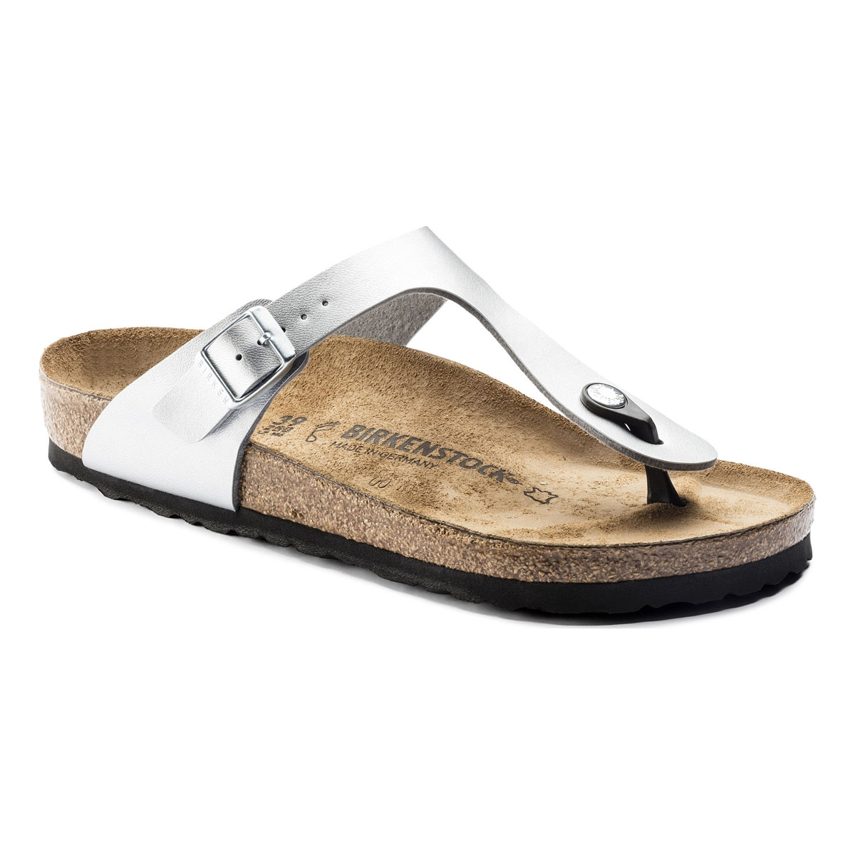 c7335b2a6abb Image of Birkenstock Gizeh Birko-Flor Synthetic Leather Sandals (Women s) -  Silver