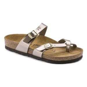 Image of Birkenstock Mayari Birko-Flor Synthetic Leather Sandals (Women's) - Electric Metallic Taupe