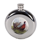 Image of Bisley 4.5oz Round Hip Flask - Pheasant Design with Presentation Box and Funnel