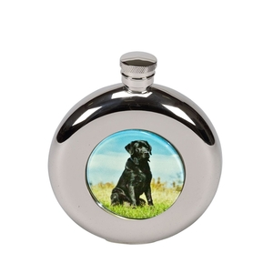 Image of Bisley 4.5oz Round Labrador Hip Flask
