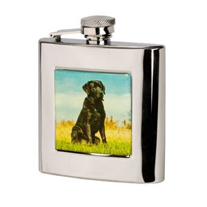 Image of Bisley 6oz Square Labrador Hip Flask