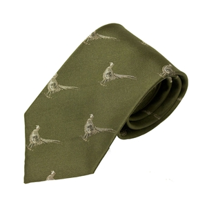 Image of Bisley Pheasants Silk Tie - Green