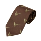 Image of Bisley Pheasants Silk Tie - Burgundy