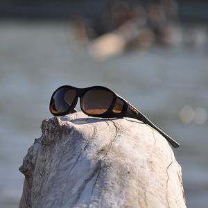 Image of Cocoons Slim Line Polarized Sunglasses - Black Frame / Amber Lens