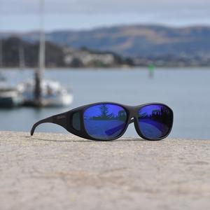 Image of Cocoons Slim Line Polarized Sunglasses - Black Frame / Blue Mirror Lens