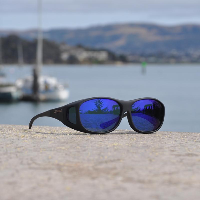 c20665e6825b Image of Cocoons Slim Line Polarized Sunglasses - Black Frame / Blue Mirror  Lens