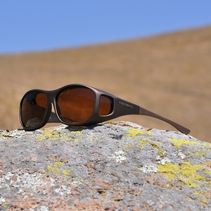 Image of Cocoons Slim Line Polarized Sunglasses - Sand Frame / Amber Lens
