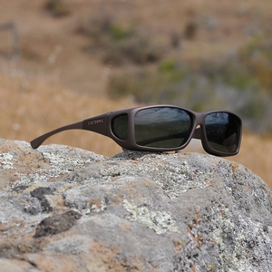 Image of Cocoons Wide Line Polarized Sunglasses - Sand Frame / Grey Lens