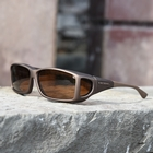 Image of Cocoons Wide Line Polarized Sunglasses - Sand Frame / Amber Lens