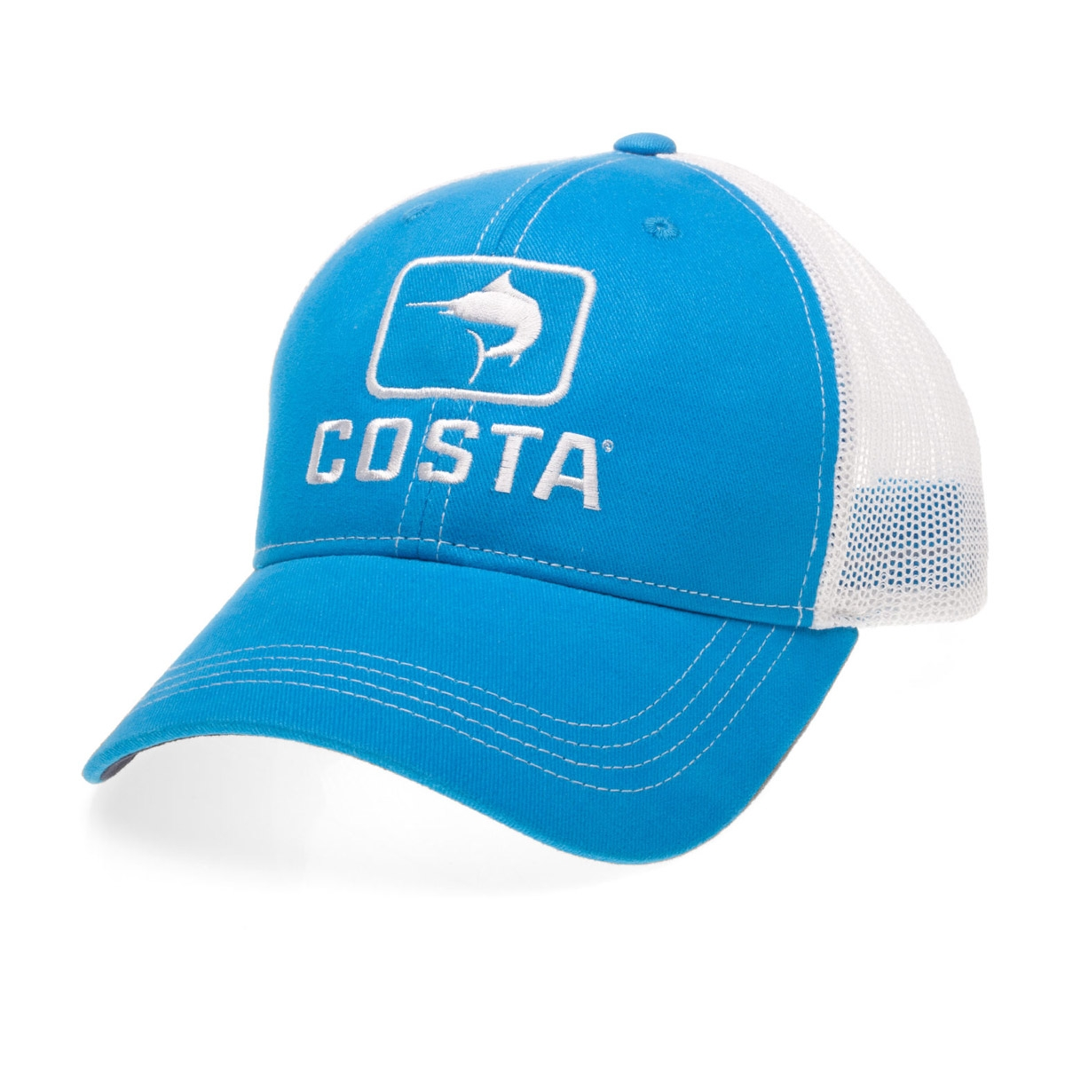 37f7b9bc280e8 Image of Costa Del Mar Marlin XL Trucker Cap - Costa Blue White