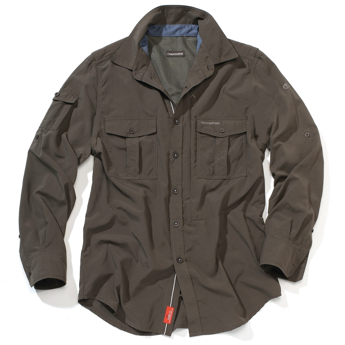 Image of Craghoppers Mens NosiLife Long-Sleeve Shirt - Dark Khaki 781efa1c4d14