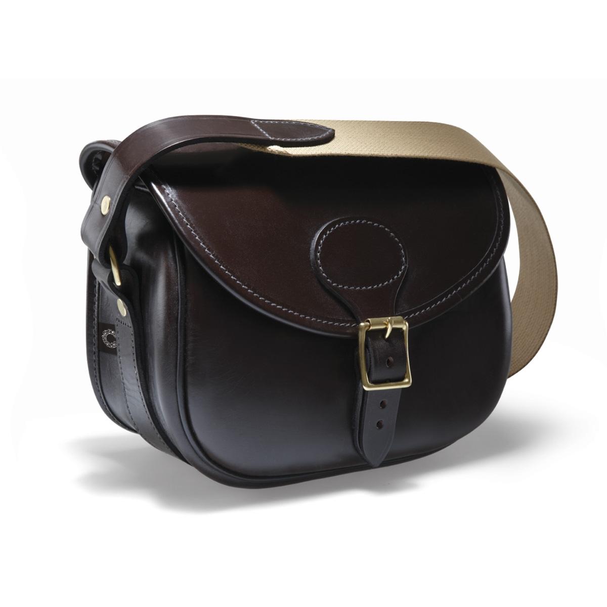 Image of Croots Malton Bridle Leather Cartridge Bag - 100 - Dark Havana