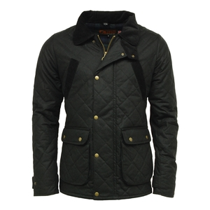 Image of Game Oxford Quilted Wax Jacket - Black