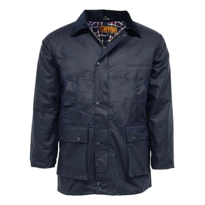 Image of Game Padded Wax Jacket - Navy