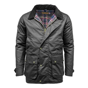 Image of Game Winchester Padded Wax Jacket - Black