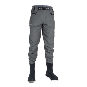 Image of Guideline Diver Sonic Breathable Waist Waders - Bootfoot Sole - Grey