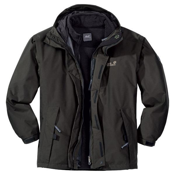 jack wolfskin iceland 3 in 1 jacket mens olive brown. Black Bedroom Furniture Sets. Home Design Ideas
