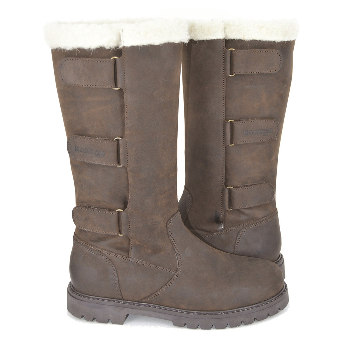 Image of Kanyon Outdoor Wisteria Wool Lined Waterproof Country Boots ( Women s) - Brown Leather 819236ec22