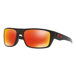 Image of Oakley Drop Point Prizm Sunglasses - Polished Black Frame/Prizm Ruby Lens