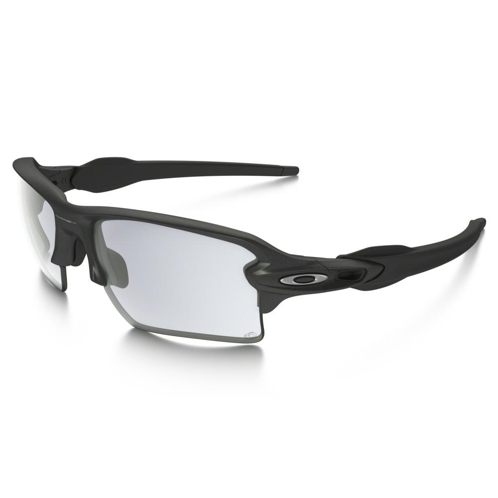 Oakley Flak 2.0 XL Photochromic Sunglasses - Steel Frame/Clear Black  Iridium Photocromatic Lens