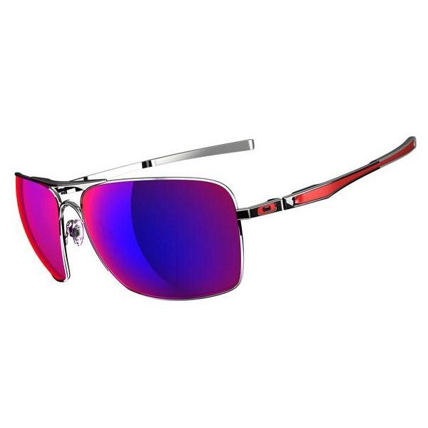 980aba319 Image of Oakley Plaintiff Squared Sunglasses - Polished Chrome / Positive  Red Iridium