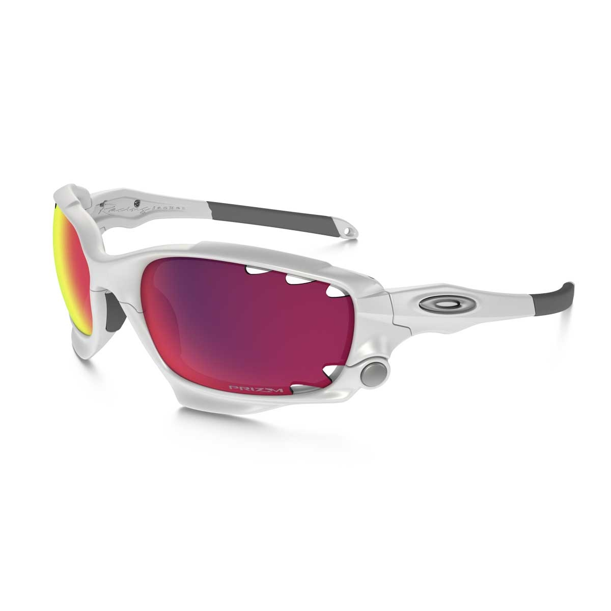 Image of Oakley Racing Jacket Vented Sunglasses - Polished White   Prizm  Road   Persimmon 118a80927b