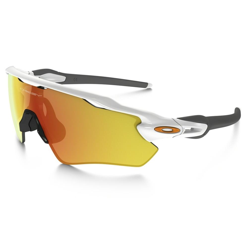 cb90579350b Image of Oakley Radar EV Path Sunglasses - Polished White Frame Fire Iridium  Lens