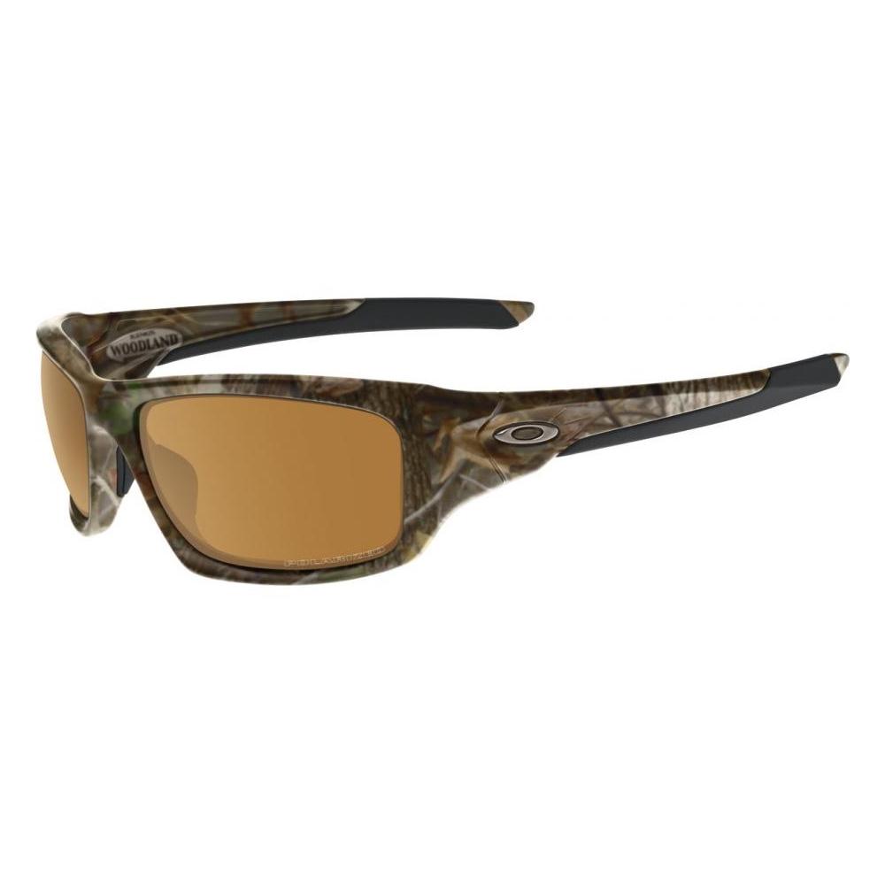 89bade501e Image of Oakley Valve Polarized Sunglasses - Woodland Camo Frame Bronze  Polarized Lens