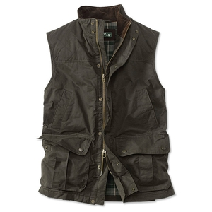 Image of Orvis Sandanona Wax Cloth Vest (Men's) - Dark Green
