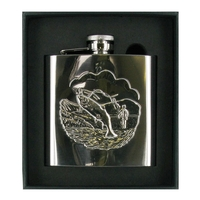 Range Right 4oz Polished Steel Hip Flask - Fishing Scene