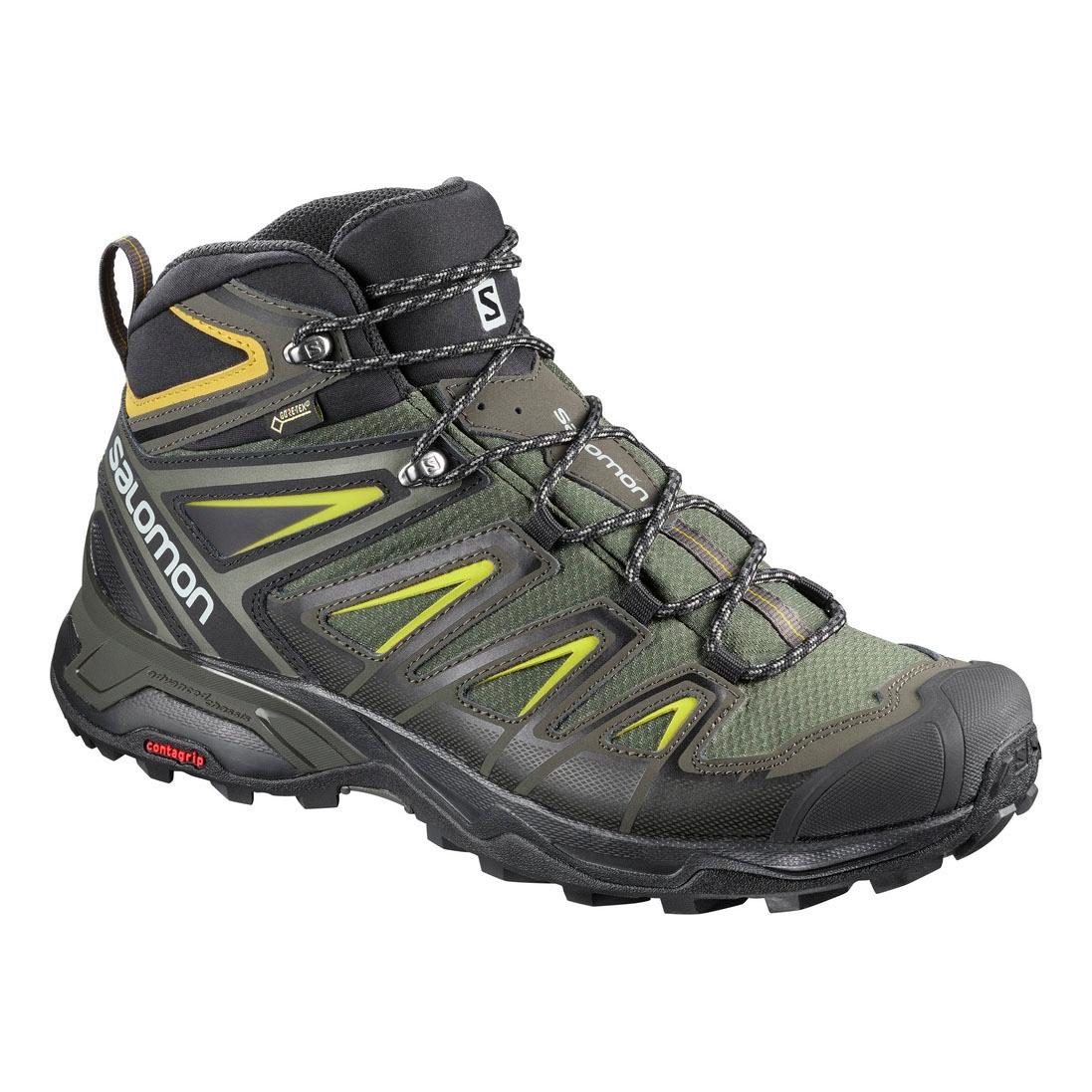size 40 be9f4 2ea19 Salomon X Ultra 3 MID GTX Walking Boots (Men's) - Castor Grey/Black/Green  Sulphur