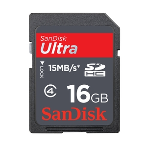 Image of Sandisk SDHC Ultra Memory Card (Class 10)