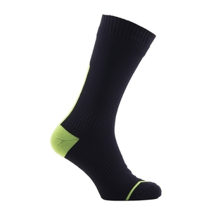 Image of SealSkinz Waterproof All Weather Mid Length Socks with Hydrostop - Black / Illuminous