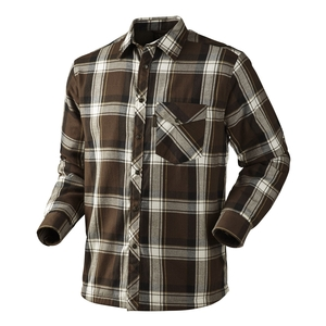 Image of Seeland Moscus Fleece Lined Shirt - Demitasse Brown Check