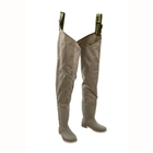 Image of Snowbee 210D Wadermaster Nylon/PVC Thigh Waders - Cleated Sole - Sage Green