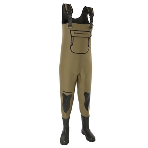 Image of Snowbee 4mm SFT Neoprene Chest Bootfoot Waders - Cleated Sole - Olive Green