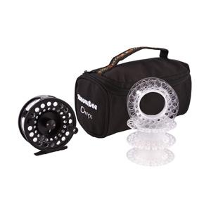 Image of Snowbee Onyx Cassette Fly Reel  #7/9 plus 3 Spare Cassette Spools in Reel Case - Black