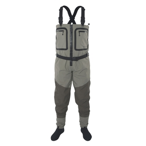 Image of Snowbee SFT Zip-Front Breathable Stockingfoot Chest Waders - Green