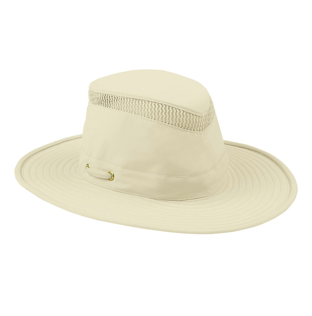 aae8cf263e01e Image of Tilley Broad Curved Brim Lightweight Airflo Hat - Natural With  Forest Green Underbrim