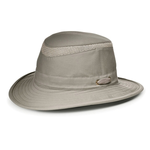 Image of Tilley Medium Curved Brim Organic Cotton Airflo Hat - Khaki with Olive Green Underbrim