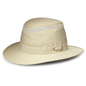 Image of Tilley Medium Curved Brim Lightweight Airflo Hat - Natural With Forest Green Underbrim