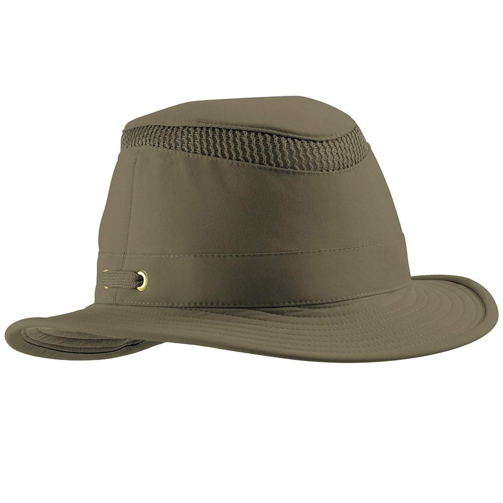 61212f2784c Image of Tilley Medium Curved Brim Lightweight Airflo Hat - Olive